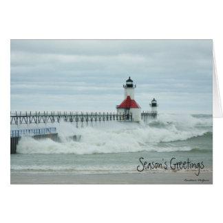 Superstorm Sandy Lake Michigan Lighthouse Card