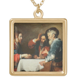 Supper at Emmaus (oil on canvas) 2 Gold Plated Necklace