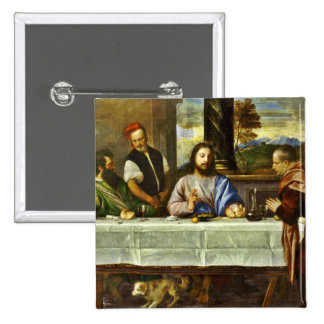 Supper at Emmaus with Friends 2 Inch Square Button