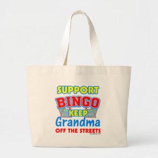 Support Bingo Grandma Large Tote Bag