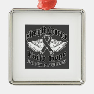 Support Brain Cancer awareness Silver-Colored Square Ornament