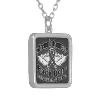 Support Brain Cancer awareness Square Pendant Necklace