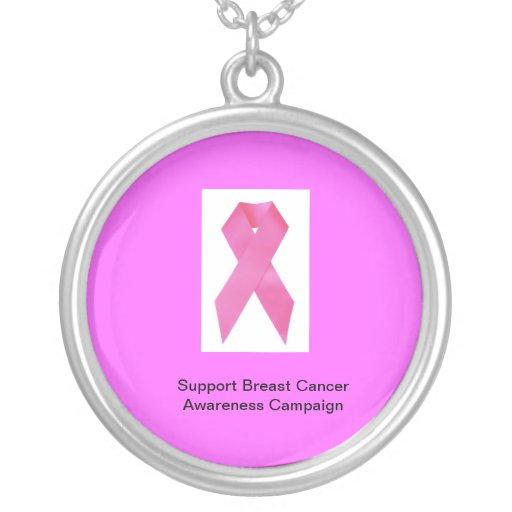 Support Breast Cancer Sterling Silver Necklace