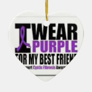 Support cystic fibrosis research ceramic heart ornament