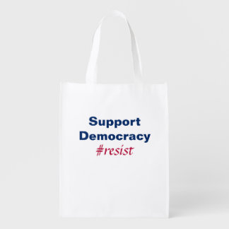 Support Democracy Resistance Red White And Blue Reusable Grocery Bag