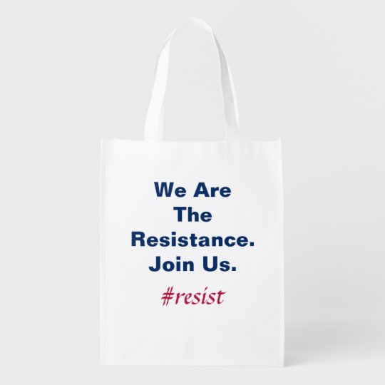 Support Democracy We Are the Resistance Join Us Grocery Bags