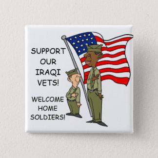 SUPPORT IRAQI VERTERANS 2 INCH SQUARE BUTTON