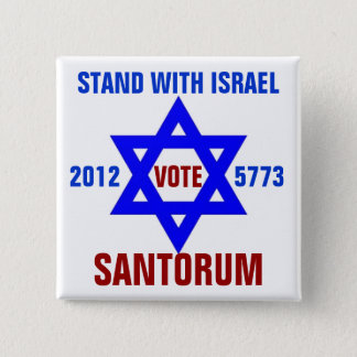 Support Israel vote Santorum 2 Inch Square Button