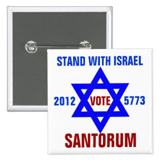 Support Israel vote Santorum 2 Inch Square Button
