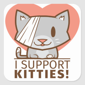 Support Kitty Square Sticker