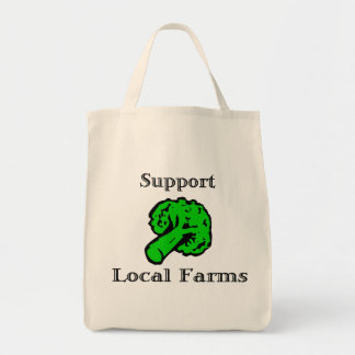Support Local Farms Broccoli Grocery Tote Bag
