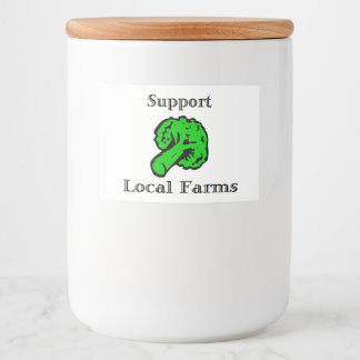 "Support Local Farms Food Container Label (3"" x 2"")"