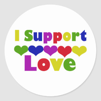 Support Love Round Stickers