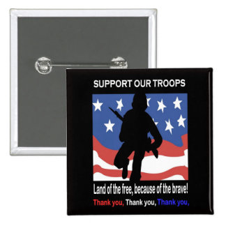 Support Our Troops 2 Inch Square Button
