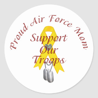 Support Our Troops Air Force Mom (Yellow Ribbon) Round Sticker