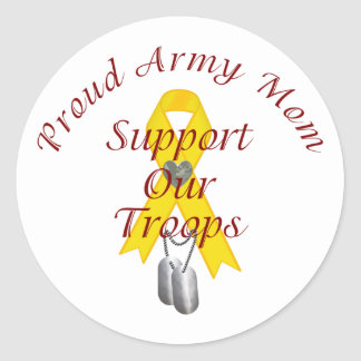 Support Our Troops Army Mom (Yellow Ribbon) Classic Round Sticker