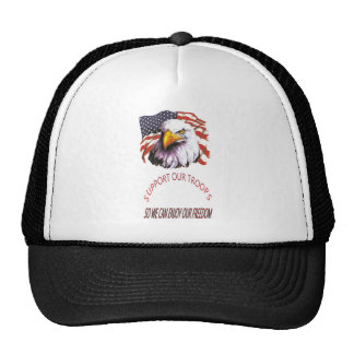 Support Our Troops Bald Eagle With A Tear USA Flag Trucker Hat