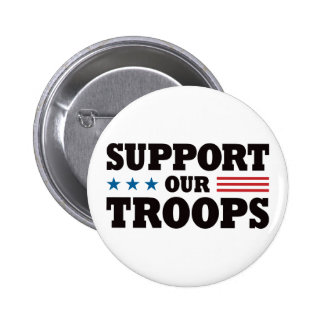 Support Our Troops - Black 2 Inch Round Button