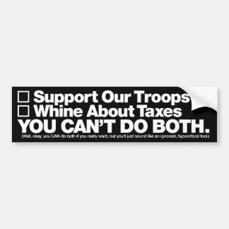 """Support Our Troops"" Bumper Sticker, White on Blac Bumper Sticker"