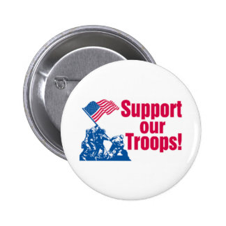 Support Our Troops Flag Raising Button