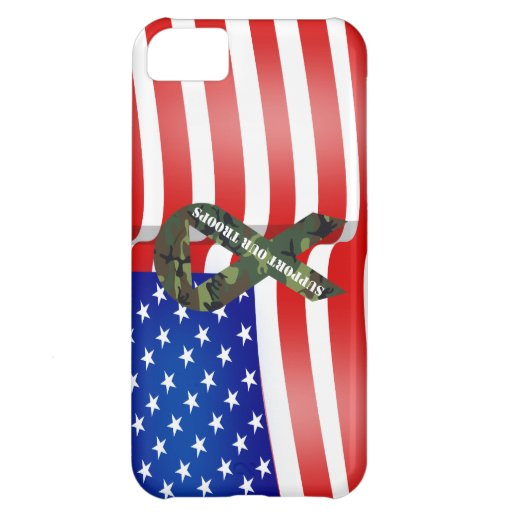 Support Our Troops Green Camo Ribbon iPhone 5C Covers