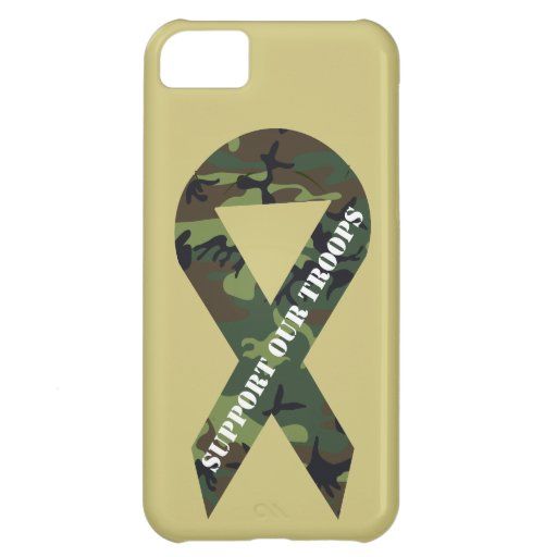 Support Our Troops Green Camo Ribbon iPhone 5C Cover