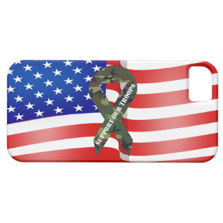 Support Our Troops Green Camo Ribbon iPhone Case