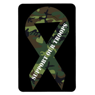 Support Our Troops Green Camo Ribbon Magnet