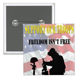 Support Our Troops Pinback 2 Inch Square Button
