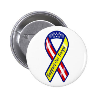 Support Our Troops Ribbon 2 Inch Round Button
