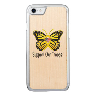 Support Our Troops with Butterfly Carved iPhone 7 Case