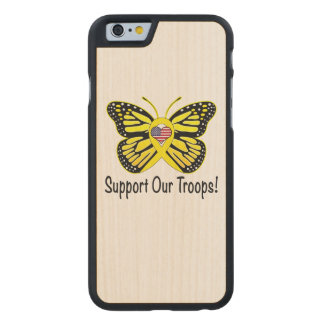 Support Our Troops with Butterfly Carved® Maple iPhone 6 Case