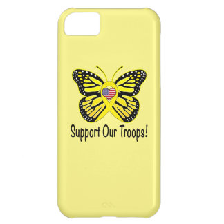 Support Our Troops with Butterfly Cover For iPhone 5C