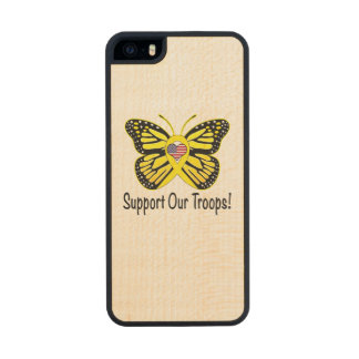 Support Our Troops with Butterfly Wood iPhone SE/5/5s Case