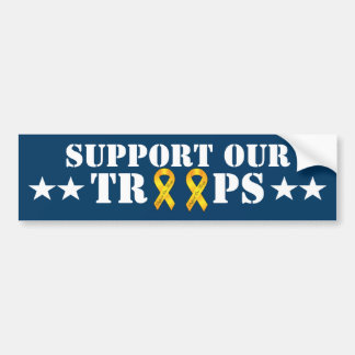 Support Our Troops - Yellow Ribbon Bumper Sticker