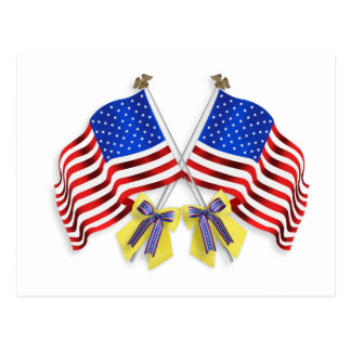 Support our troops yellow ribbons and Flags Postcard