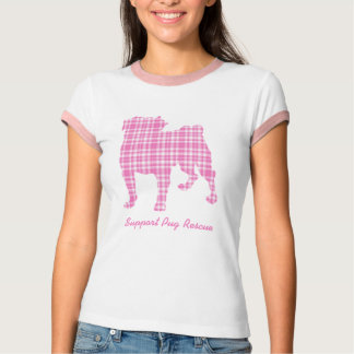 Support Pug Rescue Pugs N Pals Pink Plaid Pug Tees