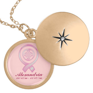 """Support Surrounds w/ Love"" - In Memorium ~ Breast Gold Plated Necklace"