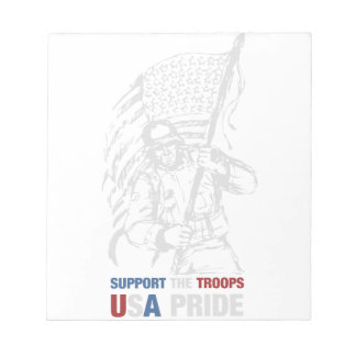 Support The Troops - USA American Pride Notepad