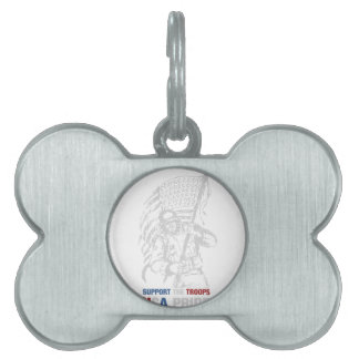 Support The Troops - USA American Pride Pet Name Tag