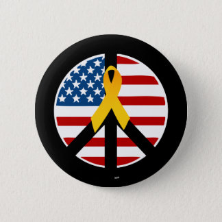 Support the Troops - Yellow Ribbon 2 Inch Round Button