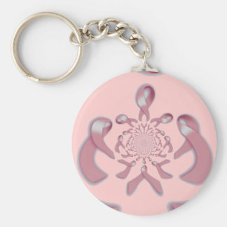 """Support to Infinity"" [1] Breast Cancer Awareness Basic Round Button Keychain"