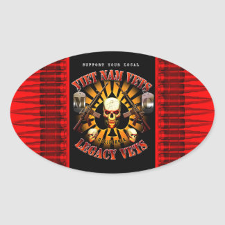 Support Viet Nam Vets MC - Ammo, Skulls, Rifles Oval Sticker