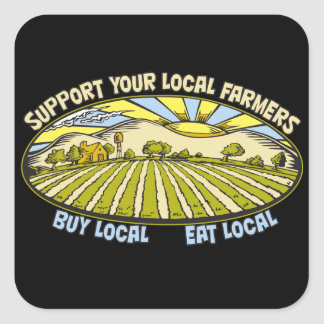 Support Your Local Farmers Square Sticker