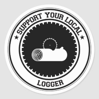 Support Your Local Logger Round Sticker
