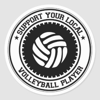 Support Your Local Volleyball Player Classic Round Sticker