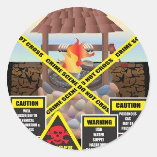 supportfracact-wellclosed-danger round sticker