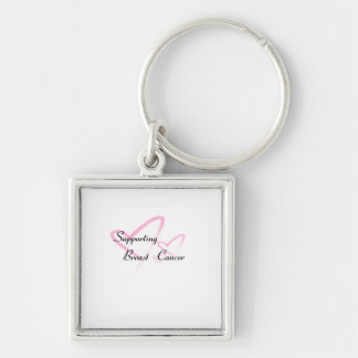 """Supporting Breast Cancer"" products Silver-Colored Square Keychain"