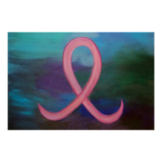 Supportive Bold Pink Breast Cancer Teal Blue Aqua Poster