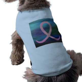 Supportive Breast Cancer Pink Ribbon Jewel Tone Pet T-shirt